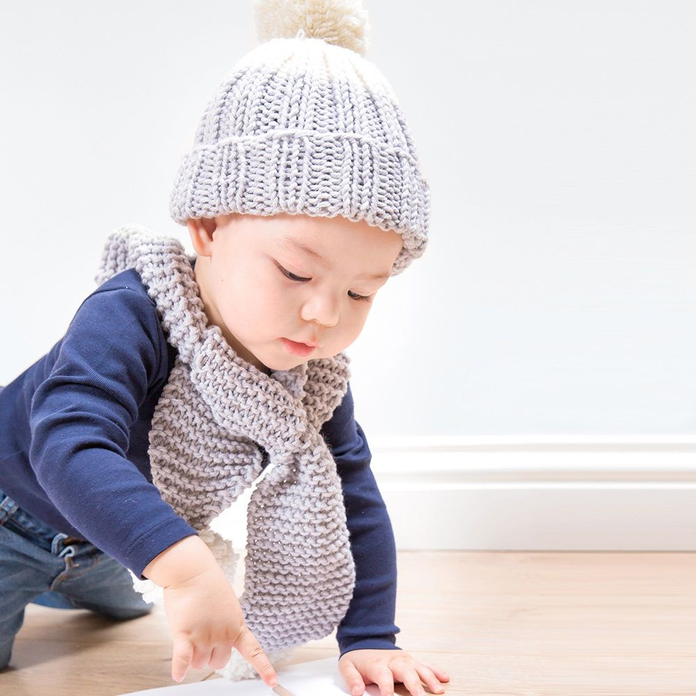 Snowdrops child hat and scarf knitting kit in baby blue hygge knit your own baby scarf and hat set knitting kit learn to knit diy set newborn baby shower knitted scarf and baby hat level easy bankloansurffo Gallery