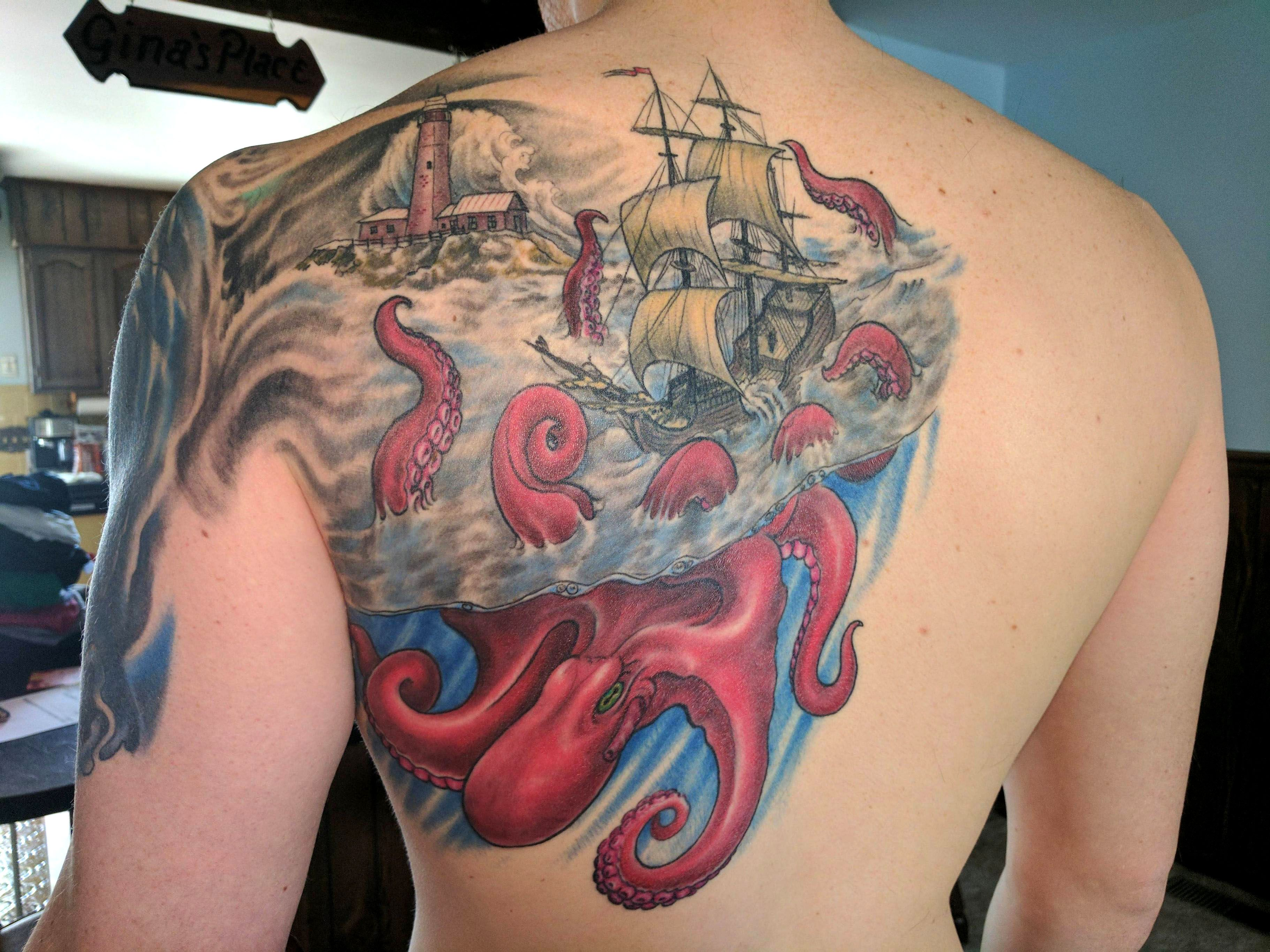 Tattoo By Matthew Amey: Giant Octopus Color Tattoo
