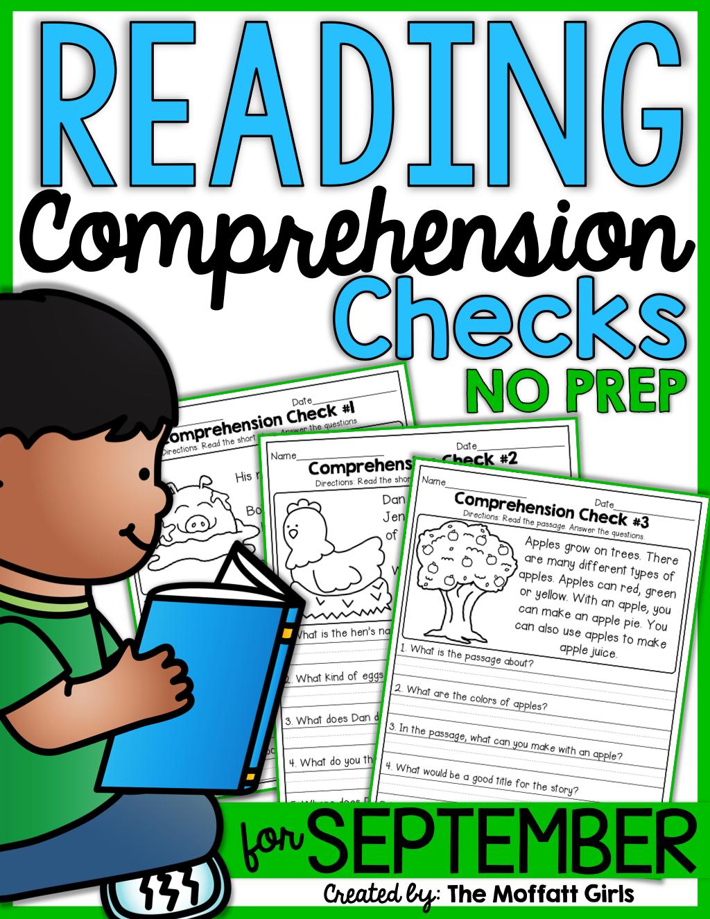 Reading Comprehension Checks For September No Prep