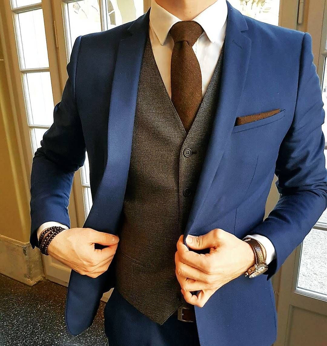men's navy blue suit, brown waistcoat, white oxford shirt, brown ...