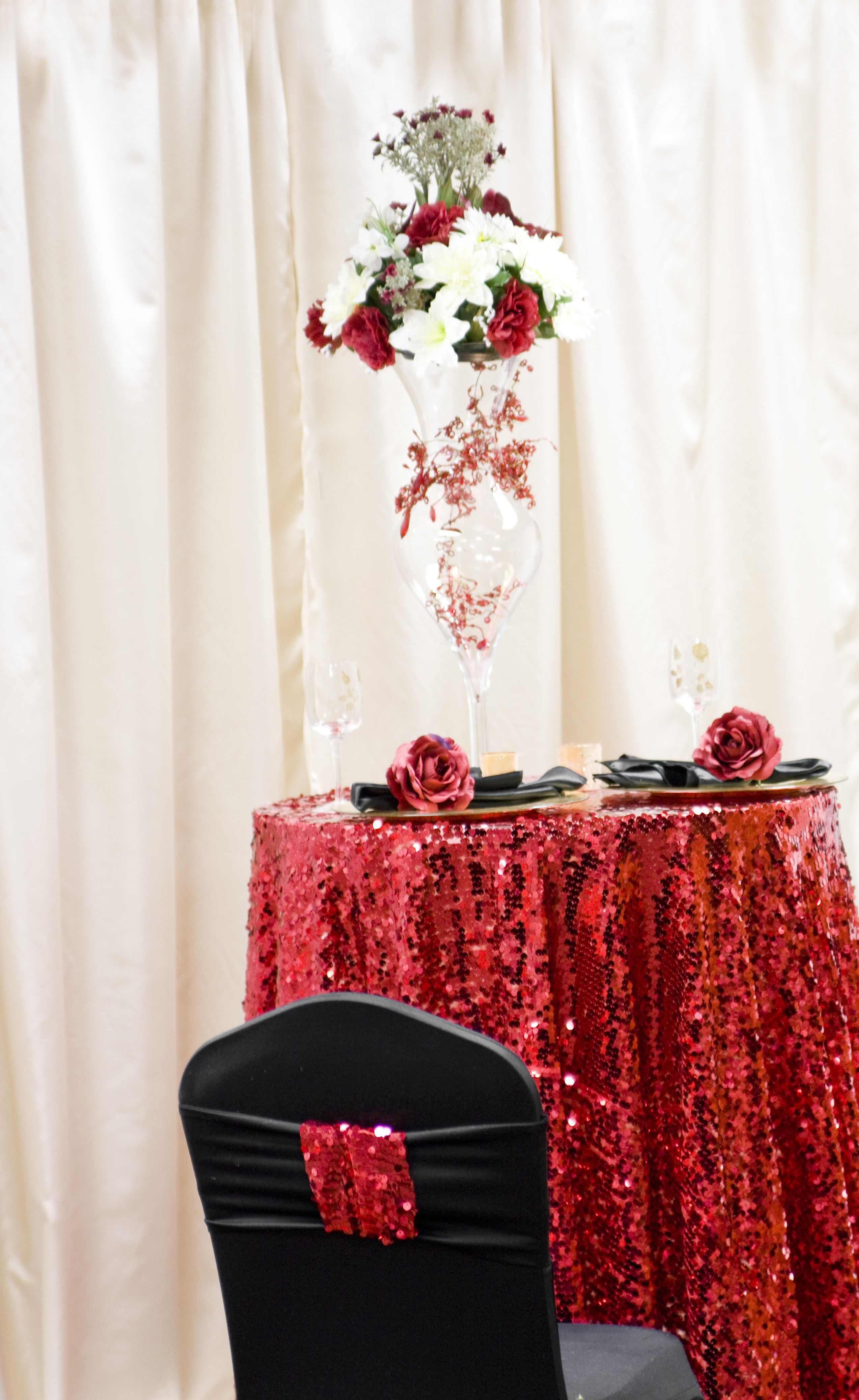 Red Mesh Sequins As A High Boy Accent Table Looks