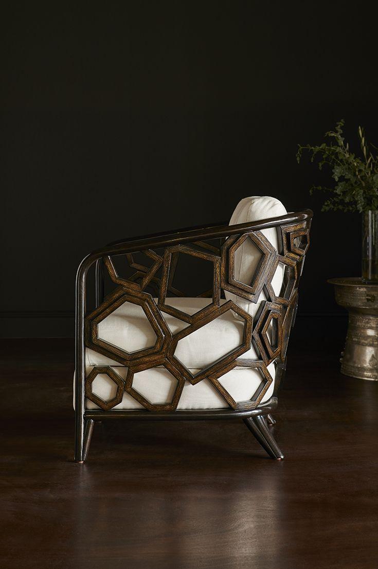 Palecek Warren Lounge Chair Pole Rattan Frame And Legs With Hand Shaped Split Pole Rattan Geometric Details All In A Dark Espres Tekli Koltuk Koltuklar Mobilya