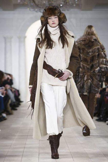 Nobody knows how to make the American West style of dress look as sophisticated and glamorous as Ralph Lauren. He owns it. Period.  This season, in shades of taupe, cream, chocolate and black, th...