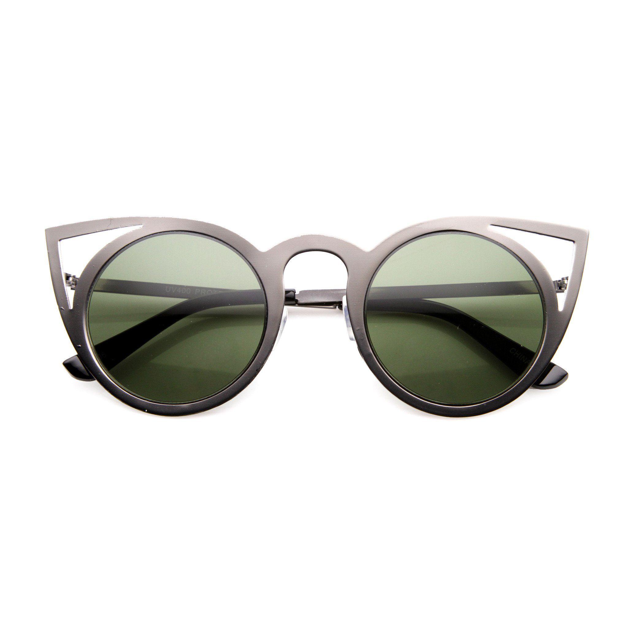 faed6f438f Women s Indie Round Laser Cut Metal Cat Eye Sunglasses