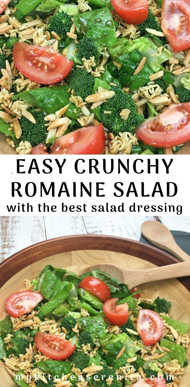 Easy salad made with crisp romaine lettuce fresh broccoli