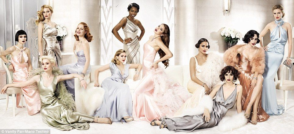 Rooney Mara, Mia Wasikowska, Jennifer Lawrence, Jessica Chastain, Elizabeth Olsen, Adepero Oduye, Shailene Woodley, Paula Patton, Felicity Jones, Lily Collins, and Brit Marling in Vanity Fair's 2012 Hollywood issue