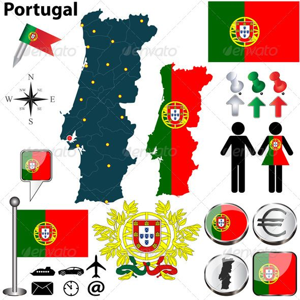 Portugal Map Graphicriver Vector Set Of Portugal Country Shape With Flags Buttons And Icons Isolated On White Backgro Viagens Viagem Portugal Viagem