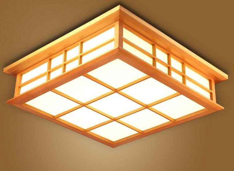 Japanese Ceiling Light Lamp LED Square 45 65cm Flush Mount