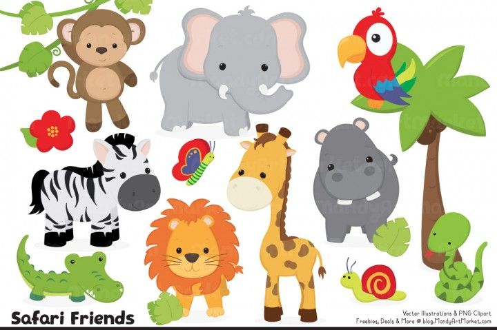 Cute Jungle Animal Clipart Vectors The Hungry Jpeg Animal Clipart Jungle Animals Safari Animals
