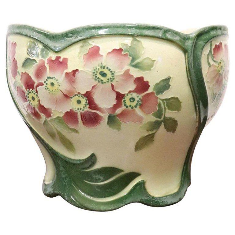 20th Century French Art Nouveau Hand Painted Ceramic Cachepot Vase 1920s Hand Painted Ceramics French Art Art Nouveau