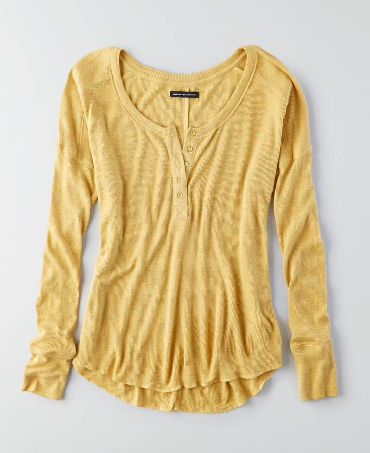 7a5f1a058 AE Plush Waffle Raglan Henley Button Top in 2019 | *Clothing* | Long ...