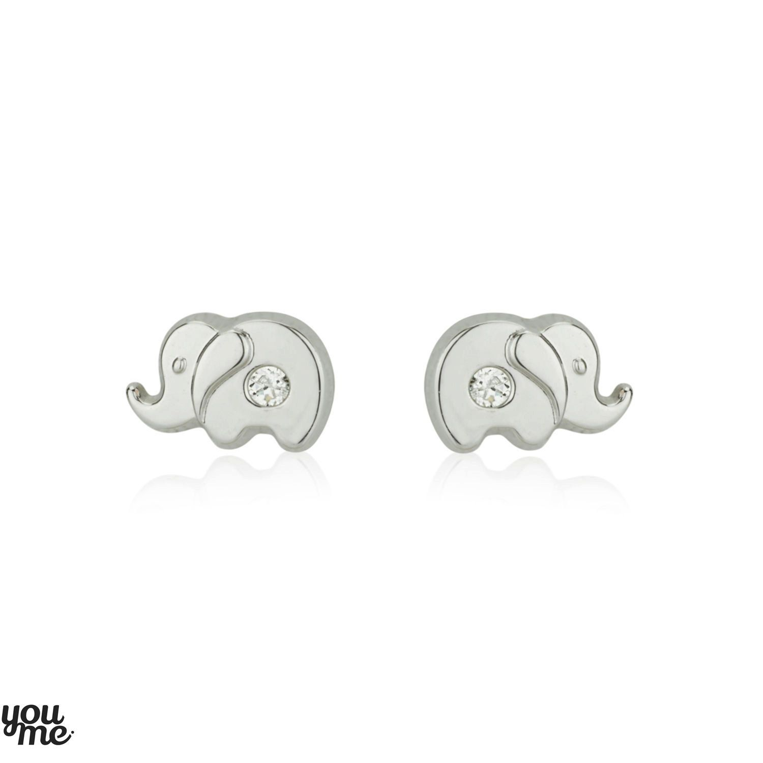 White Cz Studs Elephant Earrings 14k Gold Kids Small