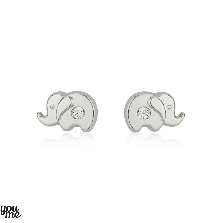 White Cz Studs, Elephant Earrings, 14k White Gold Earrings, Kids Earrings,  Small