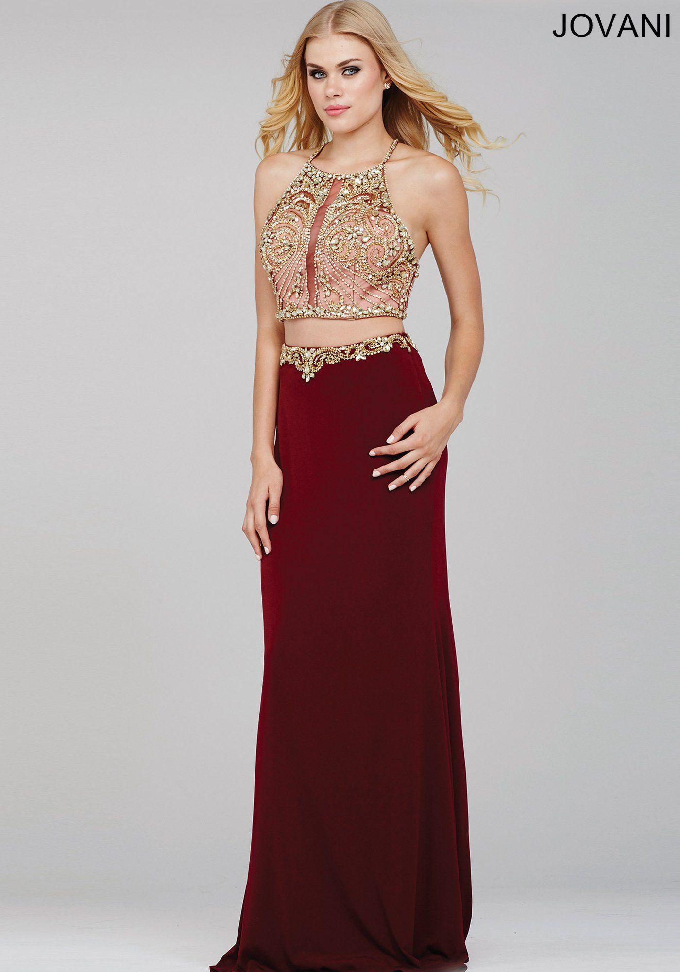 ce71f520fc1 Burgundy Jersey Two-Piece Prom Dress 33493 - Prom Dresses