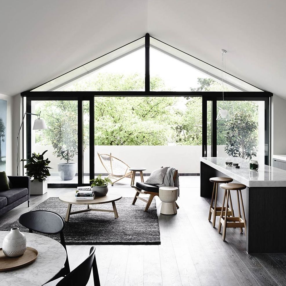 :) Oh Good Morning PERFECT example of Australian open plan living! Bravo to @robmillsarchitects for this liveable BEAUTY. And Good Morning design friends hope you have a cracking Tuesday! Team DS. X #designstuff #interiorinspiration #openplanliving #minimalstyle #livingroominspo by designstuff_group