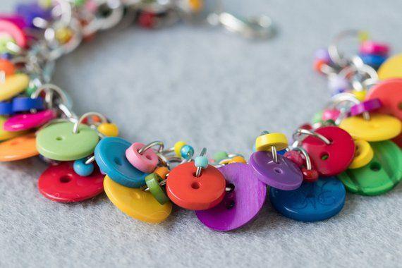 2023ac06cefea Button Charm Bracelet / Bright Colorful Jewelry / Fun Multicolored ...