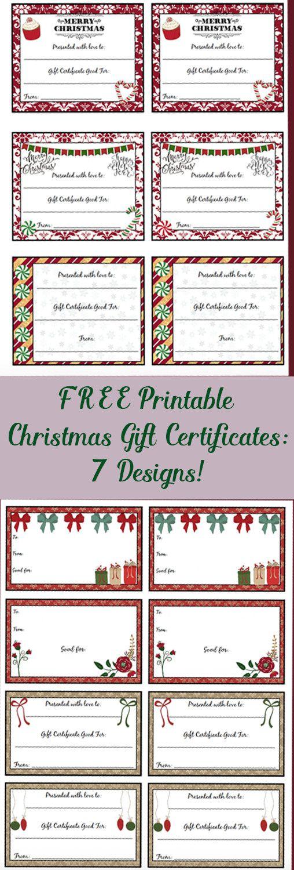 Free Printable Christmas Gift Certificates 7 Different Designs Christmas Gift Certificate Template Christmas Gift Certificate Free Gift Certificate Template