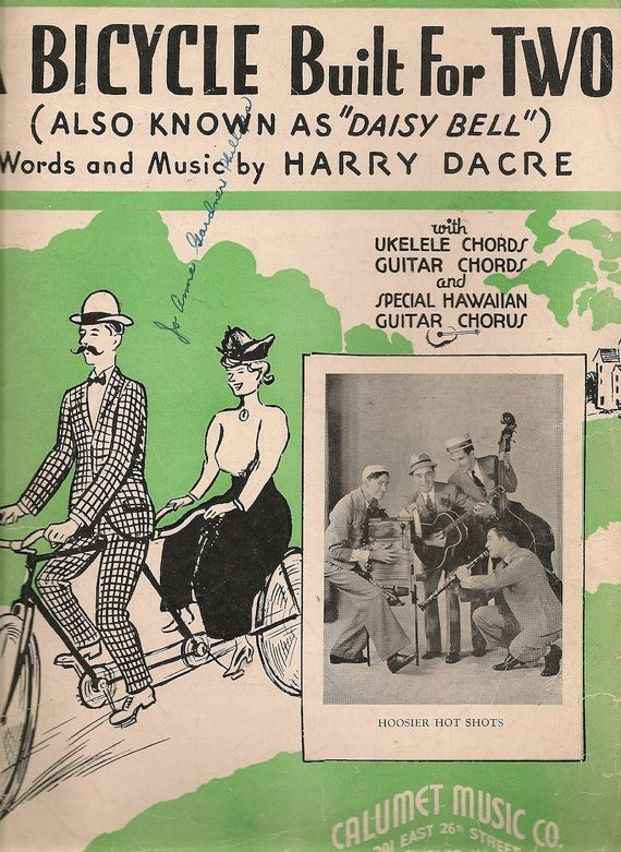 "VINTAGE SHEET MUSIC A Bicycle Built For Two (Also Known as ""Daisy"