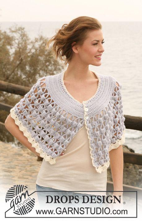 "Crochet DROPS cape with bobble pattern in ""Alpaca"". Size S/M-XXL ..."