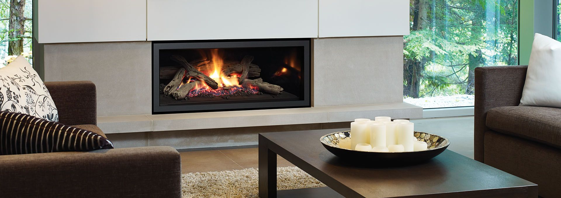 With A Contemporary Gas Fireplace Contemporary Gas Fireplace