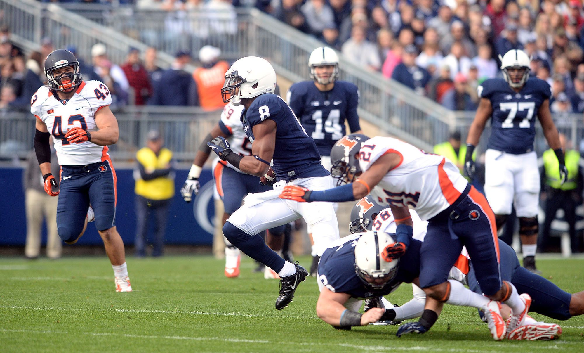 PENN STATE – FOOTBALL 2013 – ALLEN ROBINSON catches bubble screen pass and breaks loose for 47 yards to jump-start Nittany Lions' first scoring drive.