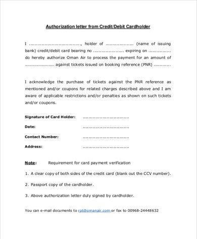 Credit Card Letter Of Authorization Template  Data Set