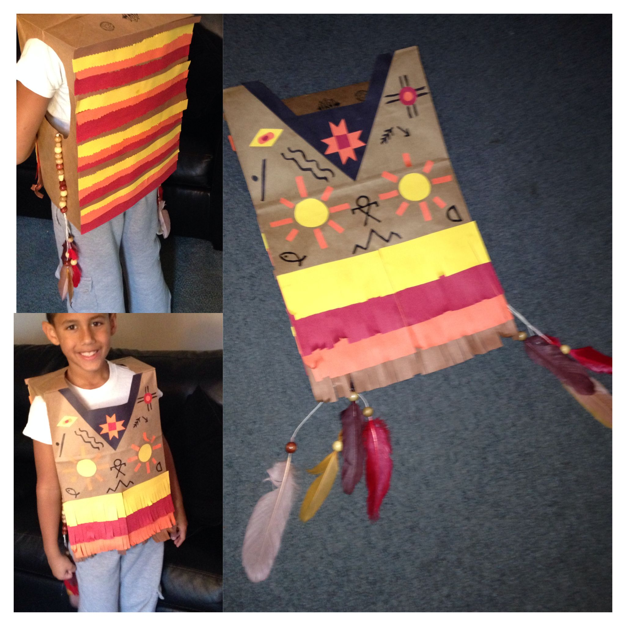 Native American Paper Bag Vest For Thanksgiving