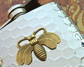 Bee Flask Honeycomb Mixed Metals Brass & Silver Steampunk Gothic Victorian By Cosmic Firefly