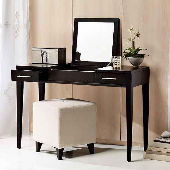 Marvelous Black Wood Dressing Table With Mirror