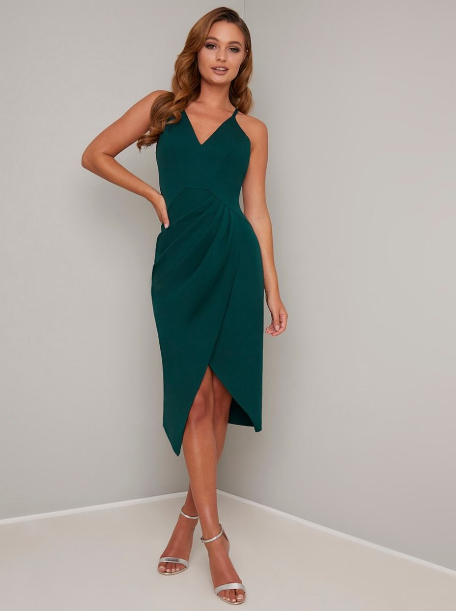 V Neck Cami Strap Wrap Style Midi Dress In Green Dresses Size 16 Women Outfits Colorful Dresses [ 1200 x 896 Pixel ]