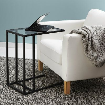 vittsj laptop stand black brown glass laptop stand workspaces and gift. Black Bedroom Furniture Sets. Home Design Ideas