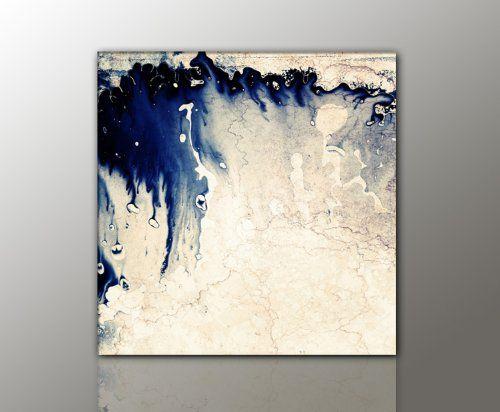 Leinwand Schlafzimmer ~ 100x100 cm !!! königsblau beige vintage style 100x100cm