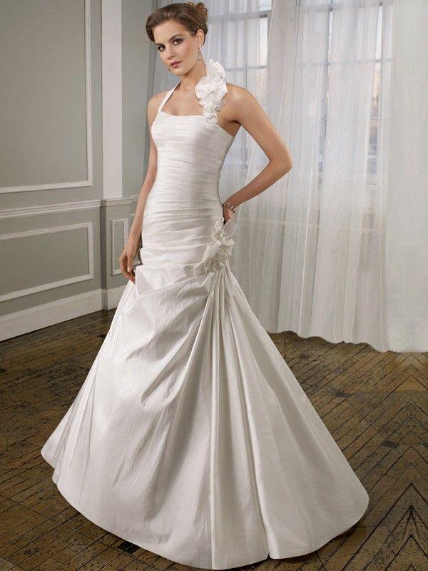 A-line Halter Sleeveless Taffeta Cheap Wedding Dresses UK ...