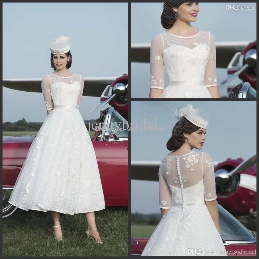 Hot Sale2015 Short Wedding Dress Crew Sheep Half Sleeve Appliques ...