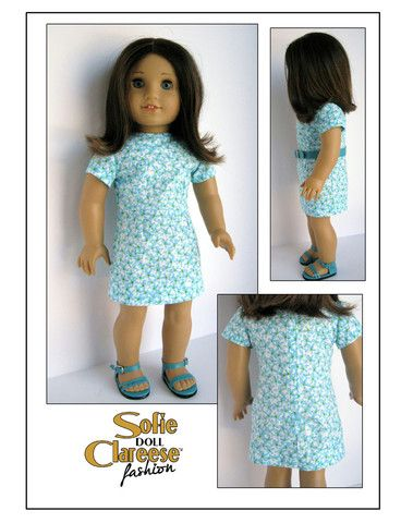Sofie Clareese Sofie's Spring Date Dress Doll Clothes Pattern 18 inch American Girl Dolls | Pixie Faire