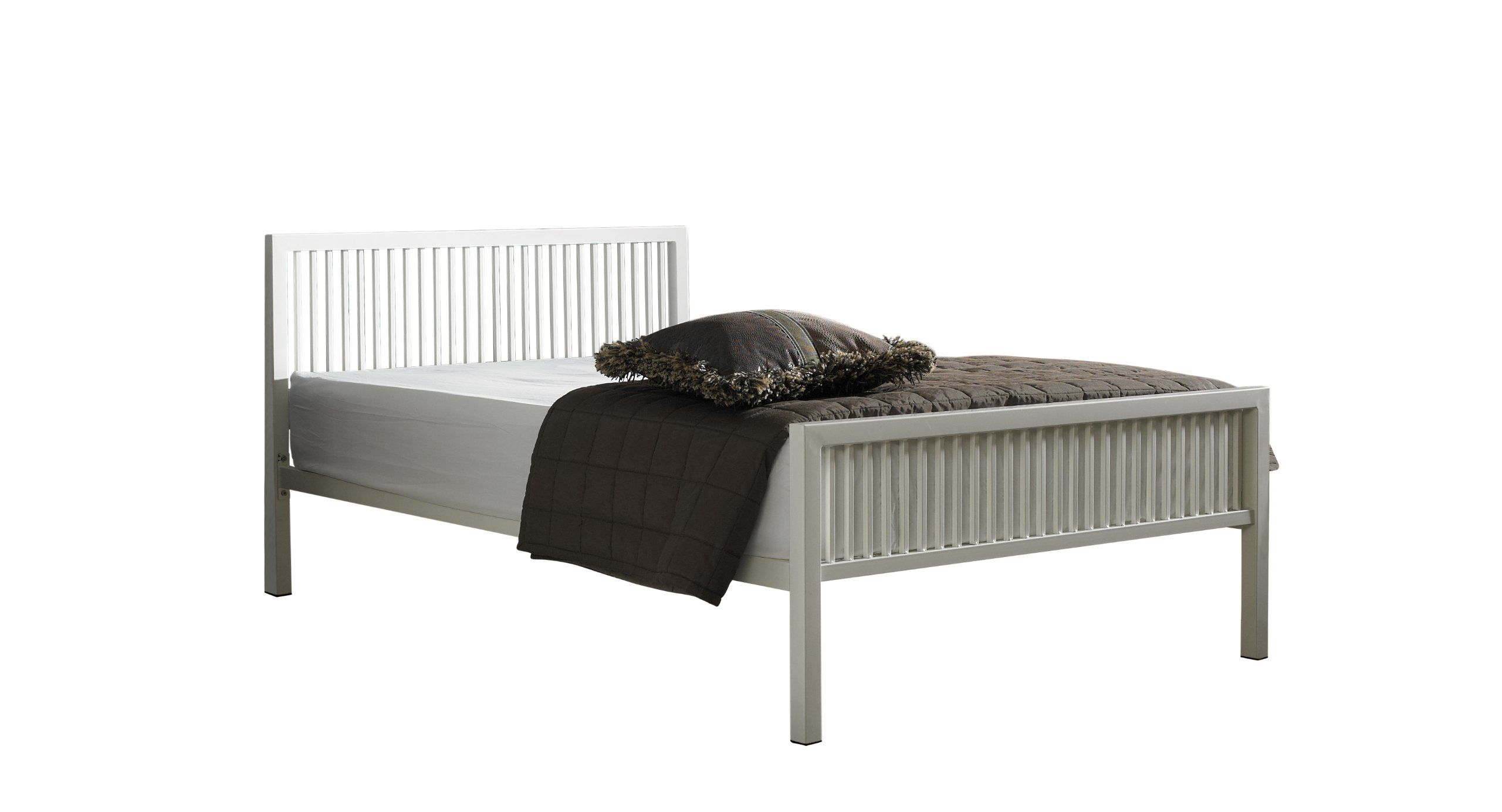 Boston Double 4ft 6inch Ivory White Off White Metal Bed