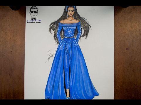 تصميم الازياء تعلم رسم فستان مميز للمحجبات Art Humanoid Sketch