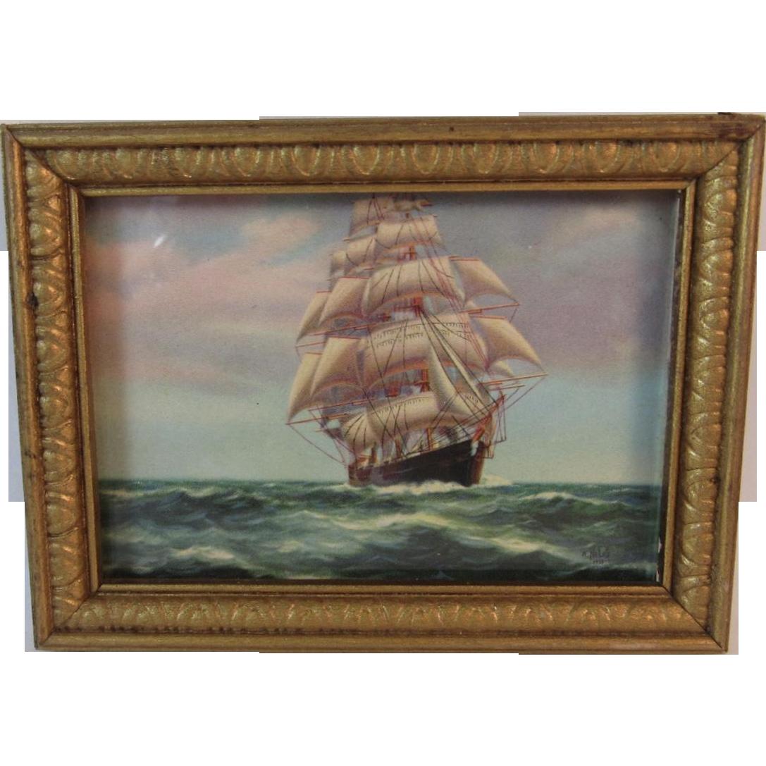 "Dollhouse Miniature Framed  Art  /"" Sailboat /""  Print"