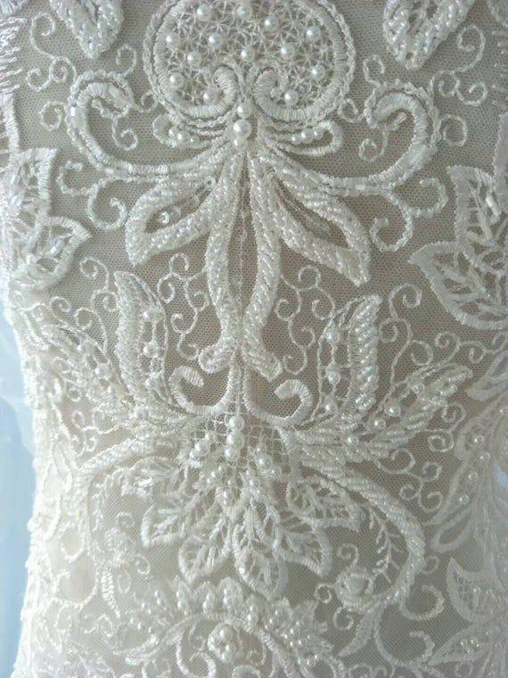 Bridal Lace Applique* Floral Corded Wedding Motif* Ivory Lace Applique AE*