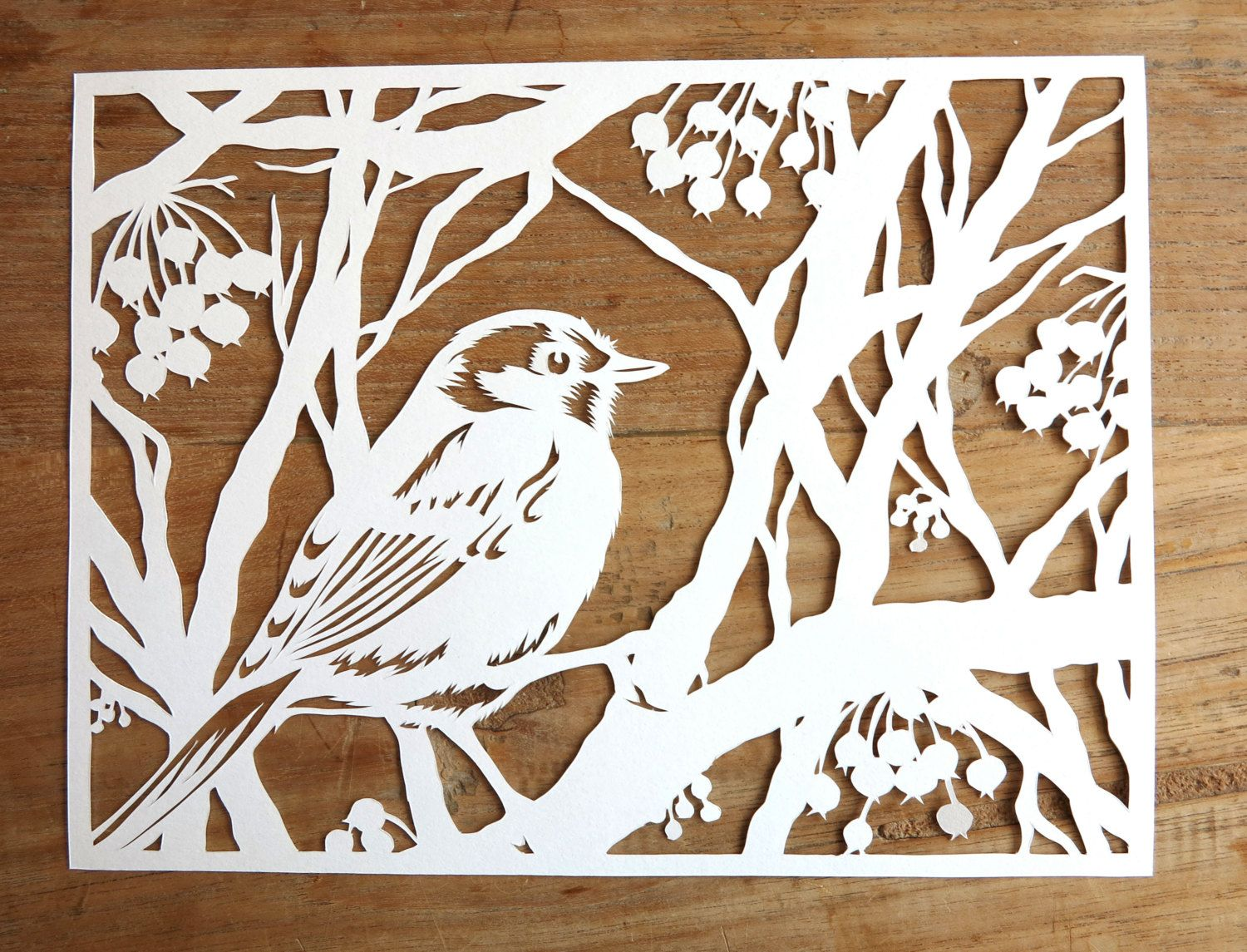 Original handmade papercut of bird in winter by for Easy paper cutting flowers