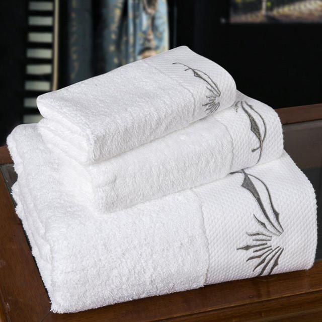 Bath Towels 3 5 Piece White Embroidery Cotton Towel Cotton