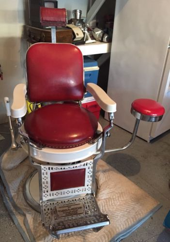 #antique Antique Theo A Kochs Barber Chair W/Side Chair   Rare | Excellent