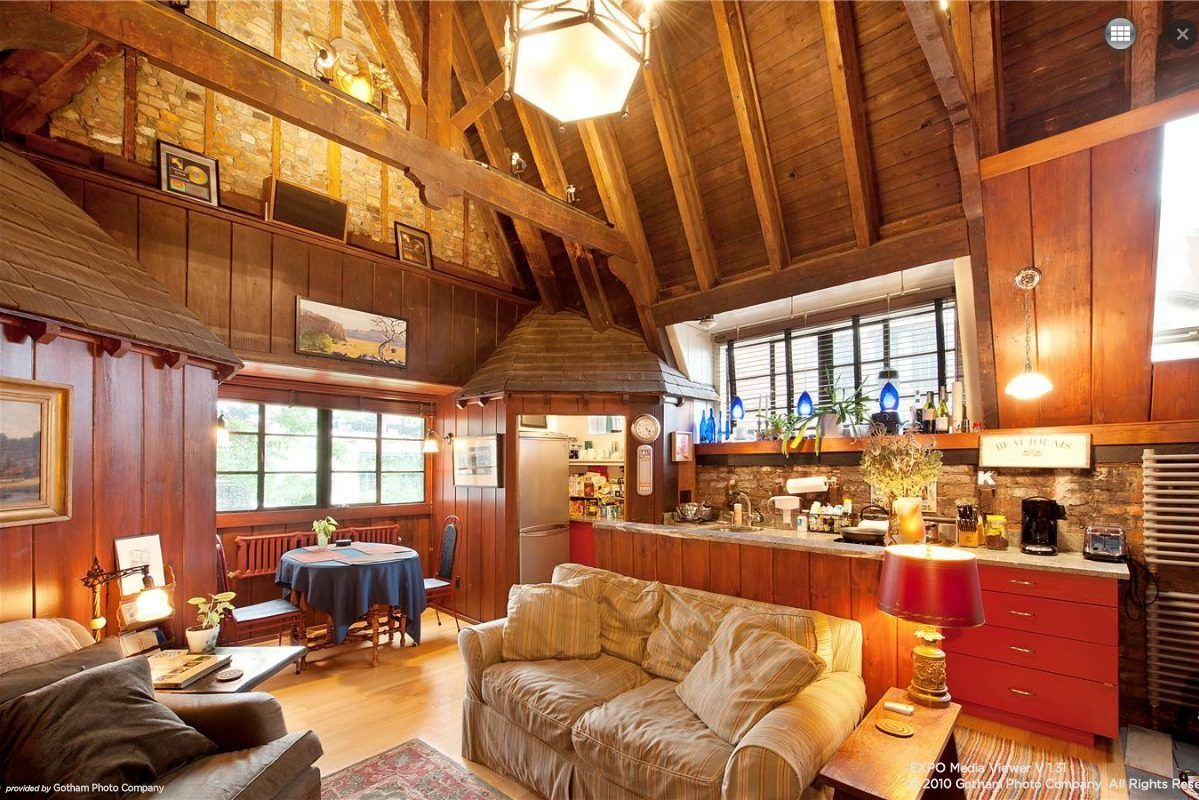 living room wooden with kitchen