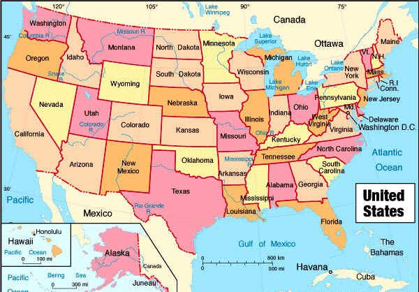 Large United States Map With States Zanders Map To See Where His - Large-map-us
