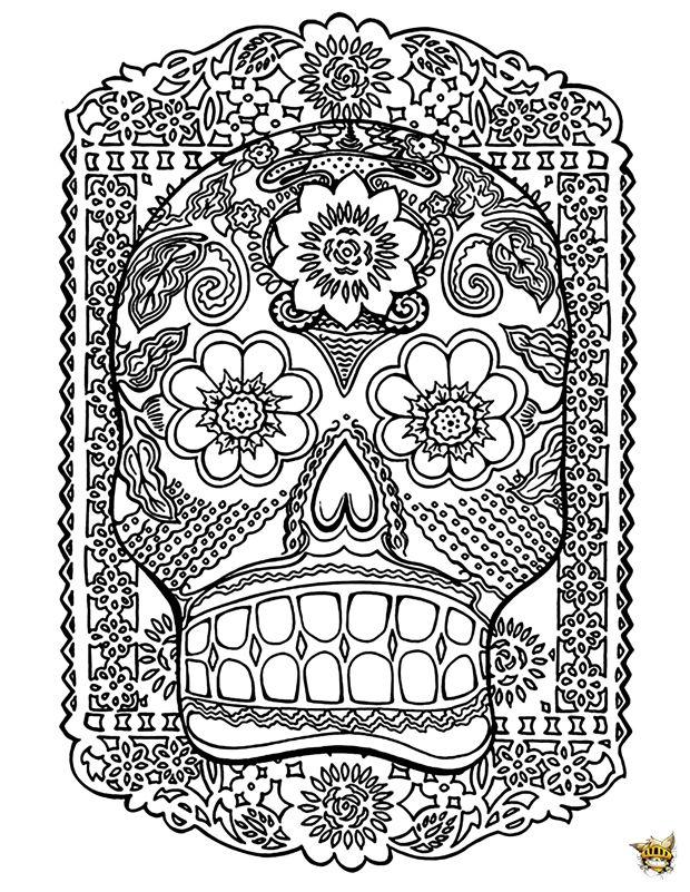 T te de mort est un coloriage pour adultes imprimer - Tete de spiderman a imprimer ...