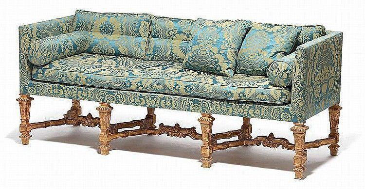 A French Louis XIV style giltwood and blue silk brocade sofa | sofa ...