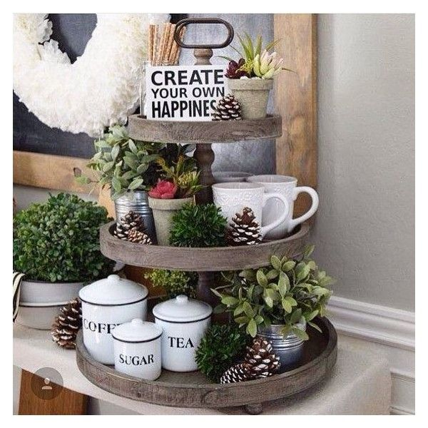 Wooden Tray Decor Prepossessing The Charlotte Wooden 3 Tier Tray ❤ Liked On Polyvore Featuring Decorating Inspiration