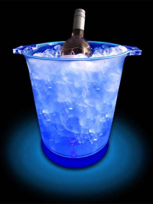 Getränkekühler mit LED Party-Gadget blau 19x18x13cm Aus der
