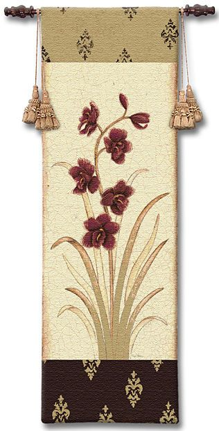 Kimono Orchid Crimson I Tapestry Wall Hanging - Botanical Picture, 18in X 53in