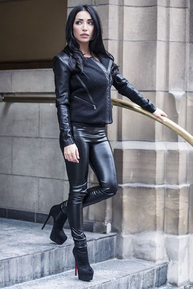 Stretch Leather Leggings With Matching Black Jacket And